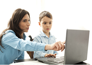 parent helping with coding